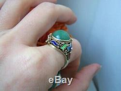 Vintage Or Chinois Washed Argent Sterling Aventurine Bague Émail Taille R Ajuster