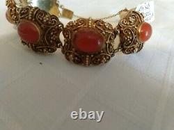 Vintage Or Gilt Bracelet En Panneau Chinois En Argent Avec Corail Rouge