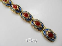 Vintage Or Sur Argent En Émail Filigrane Bracelet Cornaline Chinois Antique
