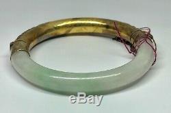 Vintage Or Washed Argent Blanc Et Vert Jade Jadéite Chinois Bracelet D