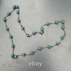 Vintage Oriental Chinois Or Doré Silver Émail Collier Perlé