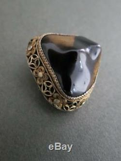 Vintage Silver Gilt Chinois Tigre Broche Yeux