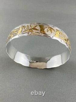 Vintage Sterling Argent Bracelet En Or Bangle Bambou Chinese Nature Leaf Tree