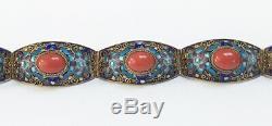 Vintage Unique Chinois D'exportation Filigrane Émail Bleu Dorés Argent Corail Bracelet