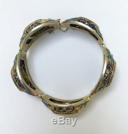 Vintage Unique Chinois Filigrane Émail Dorés Jade Bracelet Argent Sculpté
