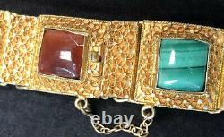 Vintage Vermeil Agate & Bracelet Ambre Chinois Avec La Chaîne De Sécurité