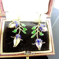 Vintage Vermeil Émail Boucles D'oreilles Fleur Chinoise