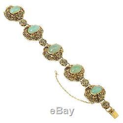 Vintage Vermeil Filigrane Vert Bracelet Jade Chinois 7.5