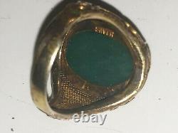 Vintage Vermeil Or Chinois Sur Argent Jade Ring-filigrane