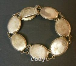 Vtg Antique Chinese Silver Mother Of Pearl Bracelet Gold Tone Caractères Asiatiques