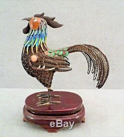 Vtg Antique Émail & Gilt Sterling Argent Filigree Chinois D'exportation Coq + Stand