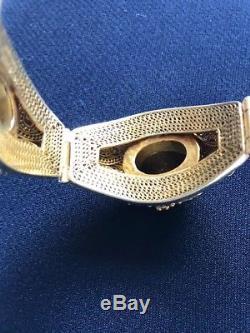 Vtg Chinese Export - Bracelet Cabochon En Oeil De Tigre En Filigrane Avec Motif En Raisin Argenté
