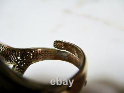 Vtg Chinese Or Lavé Cannetille Argent Sterling Coral Turquoise Taille De Bague 6.5