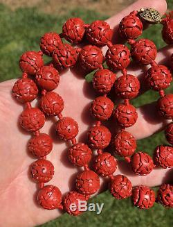 Vtg Chinois 14mm Sculpté Cinabre Perle Filigrane Gilt Fermoir En Argent Collier 30