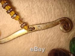 Vtg. Chinois Export 271gr Collier De Billes De Cloisonne En Argent Doré Et Argent