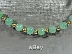 Vtg Chinois Exporter Jade Perle 3d Cloisonné Cheval 26 Collier W Fermoir En Argent Doré