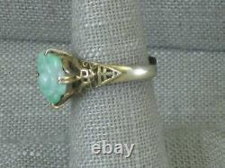 Vtg Chinois Sterling Argent Sculpté Fleur Vert Jade Gilt Anneau Ajustable Exportation