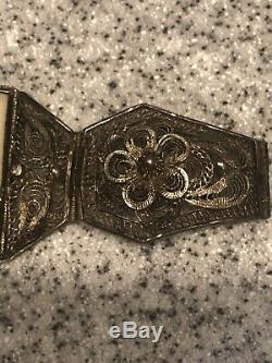 Vtg Coq D'exportation Chinois Gravé Scrimshaw Silver Style Gilt Filigrane Bracelet