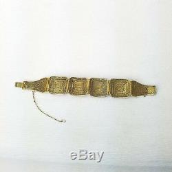 Vtg Export Chinois Coq Gravé Bracelet En Filigrane D'argent Doré De Style Scrimshaw