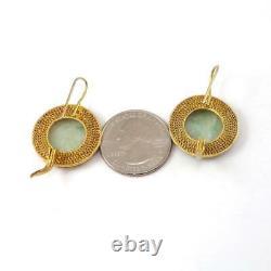 Vtg Exportation Chinoise Sterling Silver Gold Vermeil Carved Jade Dangle Boucles D'oreilles Ljc5