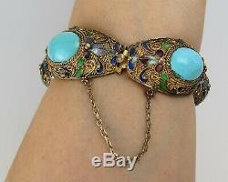 Vtg Or Chinois Sur Bracelet En Vermeil Sterling Lien Turquoise Émail Bleu Vert