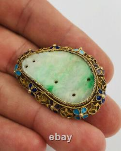 Vtg Vieux Chinois Gilt Argent Sculpté Vert Jadeite Jade Enamel Pin Brooch