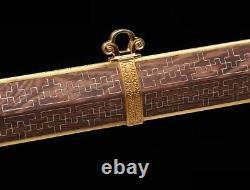 Yinyang Ruyi Motif D'épée Acier Sharp Raccords Plaqué Or W Argent Incrusté #027