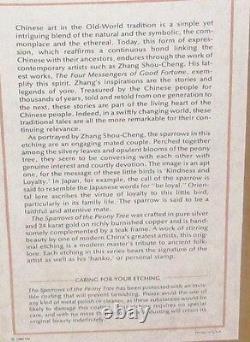 Zhang Shou-cheng Genuine 24kt Or, Argent Et Cuivre Moineaux Chinois Gravure Coa