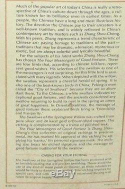 Zhang Shou-cheng Véritable 24kt Or, Argent Et Cuivre Chinois Hirondelles Gravure Coa